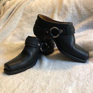 Frye harness belted mule boot black